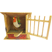 Folk Art Rooster in Coop, swings out