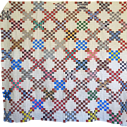 mid 1800's Triple Irish Chain Quilt Top