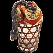 Japanese Sake glass Lidded in a Basket Folk Art