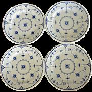 "Furnivals Denmark Blue Flute 10"" Dinner Plates - England all 4 =80"