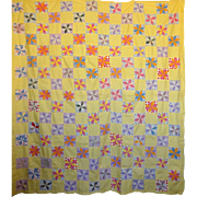 Quilt TOP  LeMoyne Star 1930's Feed sack prints calm yellow background