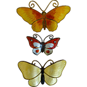 Enamel Butterfly Pins - 3 different beautiful colors Norway