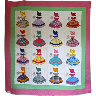 Charm Quilt ~Gaudy Southern Belle Applique ~ 1930's unused