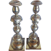 Polish Candlesticks Silver on Brass Warsaw c. 1890