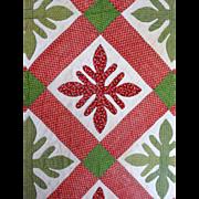 c1850 Applique Quilt 3 diff red calicos GRAPHIC leaf sprigs