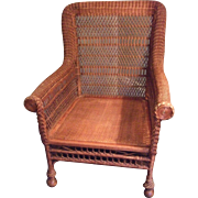Victorian Wicker Arm Chair, large, stylized, no frills Excellent Condition -Local Pickup