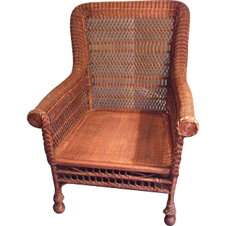 Victorian Wicker Arm Chair, large, stylized, no frills Excellent Condition - S.F. pick-up  or freight