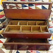 Wooden Tool Box - drawers .  compartments . folk