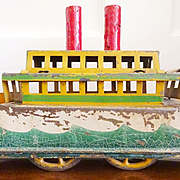 Antique German Tin Boat on wheels c. 1916