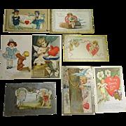 Old Valentine Post Cards 8 pcs c1910
