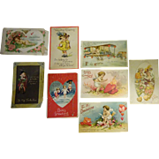 old Valentine Post Cards 8 pcs c. 1910