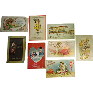 old Valentine Post Cards 8 pcs c. 1910