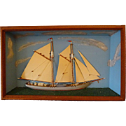 Ship Diorama- Tramp art frame  c. 1900