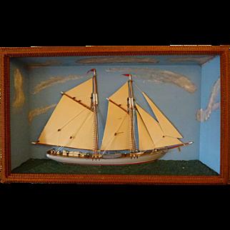 Ship Diorama- Tramp art frame  c. 1900