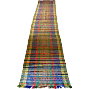"Rag Rug Runner--multi colored and old 26"" x 15.5-feet"