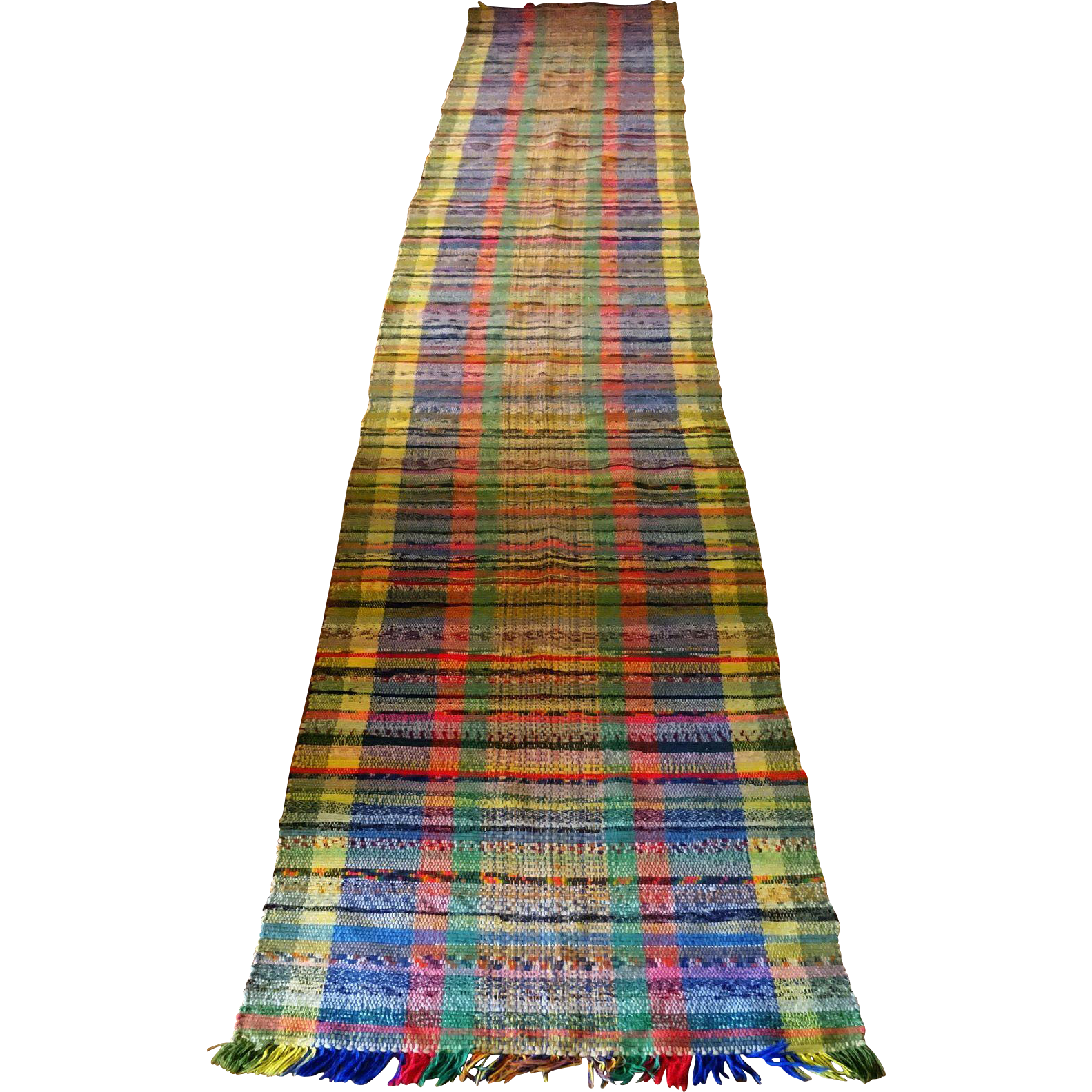 "Rag Rug Runner--multi Colored And Old 26"" X 15.5-feet From"