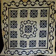 c.1850 Navy & White Applique Quilt