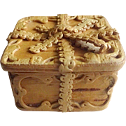 """Miniature Carved Wooden Box - Birch  1.25"""" square"""