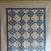 Antique Quilt - a wonderful shade of light indigo and white