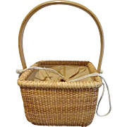 Light Ship weaving technique Sewing Basket Lined with draw-strings