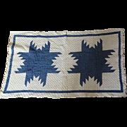 Crib Quilt OLD Feathered Star Indigo White