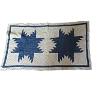 Crib Quilt OLD Feathered Star Indigo White