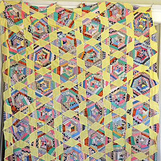 Quilt TOP- String piecing of Feedsack prints c. 1930
