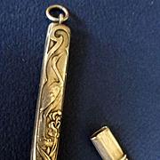 Silver Art Nouveau Needle Case Etui Heron Egret Iris  Repousse French