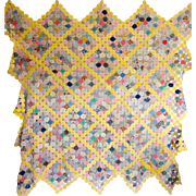 Vintage YoYo Coverlet..feed sack prints