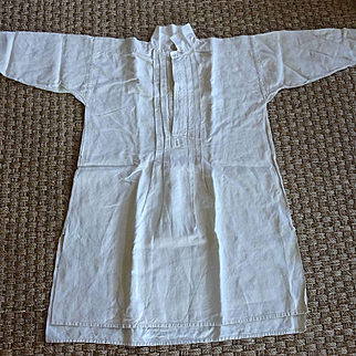 Old French Linen Night Gown Smock c. 1860