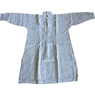 Vintage French Linen Night Gown Smock c. 1860