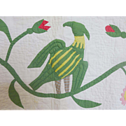 mid 1800's  Trapunto Bird Quilt- Eagle & Flowers provenance