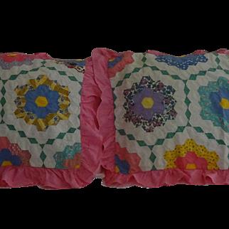 Pair pillow shams Grandmothers Flower Garden