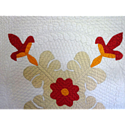 1800's Quilt - beautiful applique  amazingly fine quilting Excellent condition