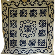 Antique Quilt Up-State NY Applique Navy & White c1850 TLC Provenance