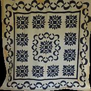 Antique Quilt Up-State NY Applique Navy & White c1850 TLC Provenance