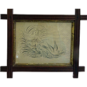 Fraktur - Dove and Cherub emerging from a lily ..nice frame