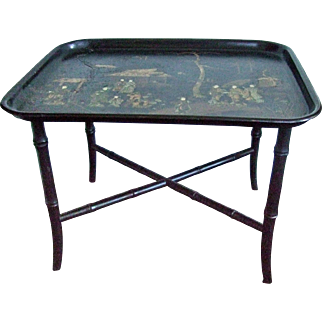 Japanese Lacquer Paper Mache' Tray Table