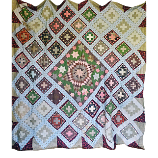 Quilt TOP RARE Medallion c.1850 Fabulous prints & construction