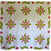 1800's Applique Quilt Oak Leaf w stippling