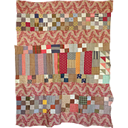 """Old Quilt Top Child size 46"""" x 60"""""""