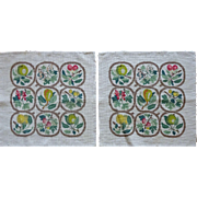 Vintage Tapestry Needlepoint Fruit pattern -  PAIR