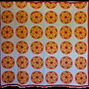 Vintage Quilt Sunrise Golden colors Entirely handmade