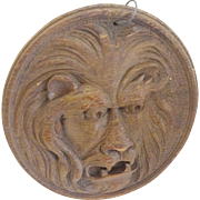 Carved wooden Lion Face--fierce folk art