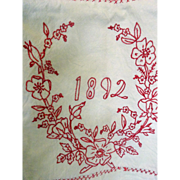 1892 Red Work Quilt--charming subjects, dated