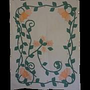Vintage Crib Quilt Art Nouveau Tulips