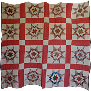 1800's STAR Quilt great  o l d  cotton prints