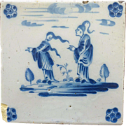 Antique Dutch Delft TILE , Chinese Couple 17th century