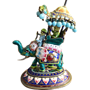 Vintage Cloisonne Elephant and Rider Figure  A miniature Jewel