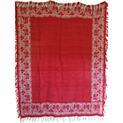 """Victorian Red and white Damask Tablecloth """"Iris"""" Reversable"""